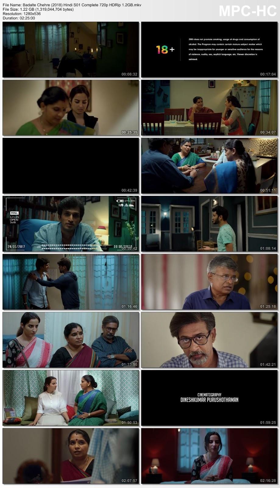Screen Shoot of Badalte Chehre (2018) Hindi ZEE5 S01 Complete 480p HDRip 450MB