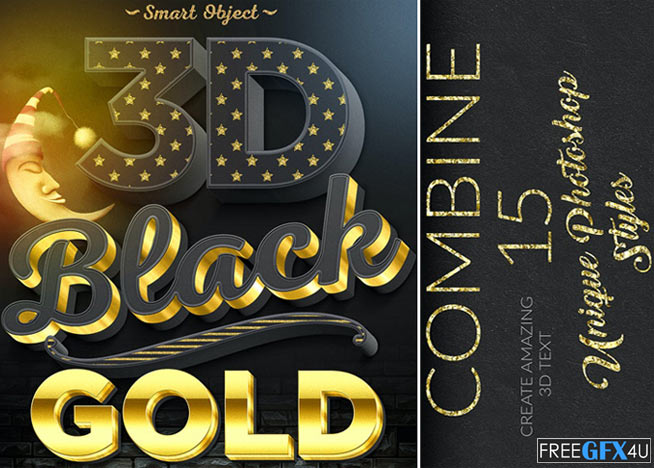15 3D Black And Gold Text