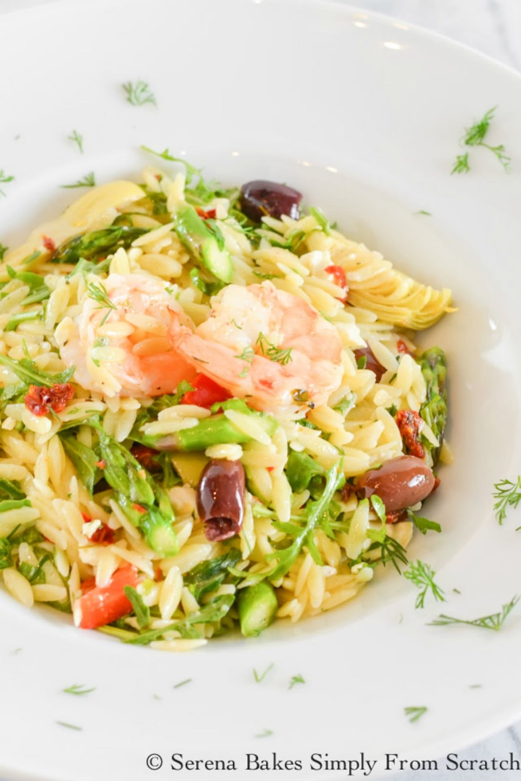 Roasted Shrimp Asparagus Orzo Pasta Salad is a summertime fav. It's loaded with artichoke hearts, sun-dried tomatoes, olives, feta cheese and arugula drizzled with lemon dill vinaigrette from Serena Bakes Simply From Scratch.