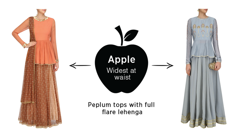 lehenga for an apple shape body