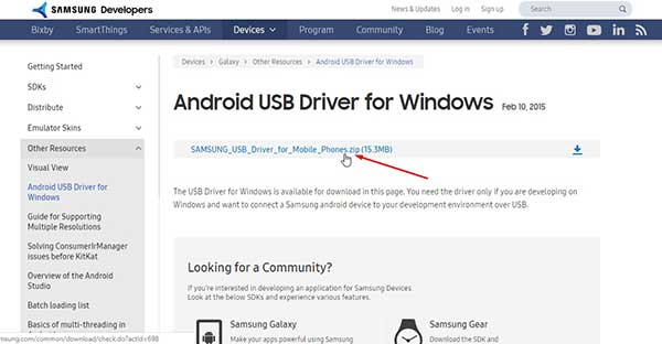 dowload Android USB Driver for Window