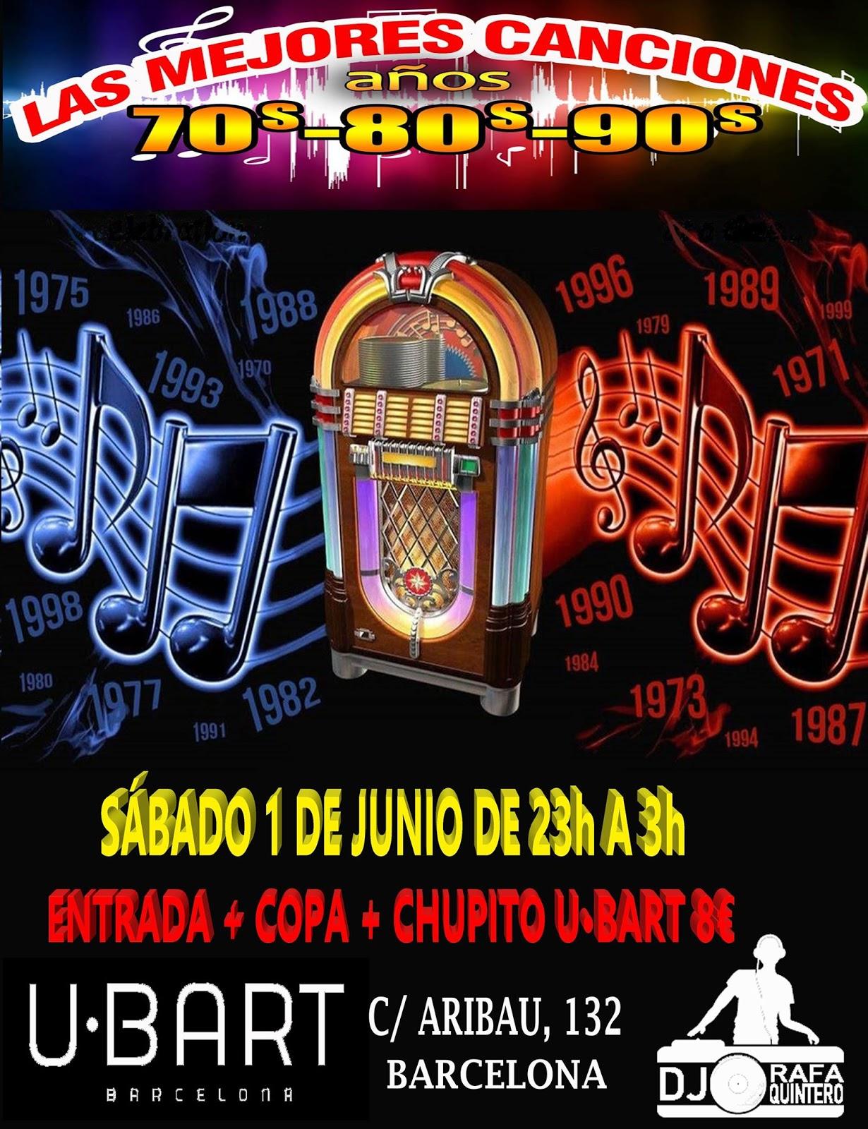 Flyer Fiesta Las Mejores Canciones años 70s-80s-90s