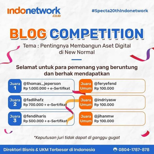 Pengumuman Indonetwork Blog Competition