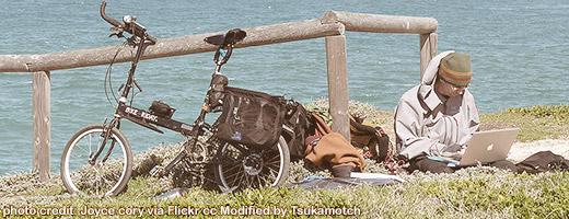 Bike Traveler With Folding Solar Panel