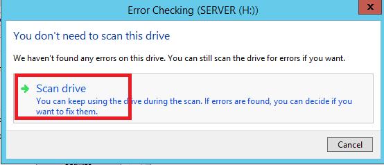 windows server check error disk drive