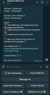 How To Earn Free Pubg Mobile UC With Telegram