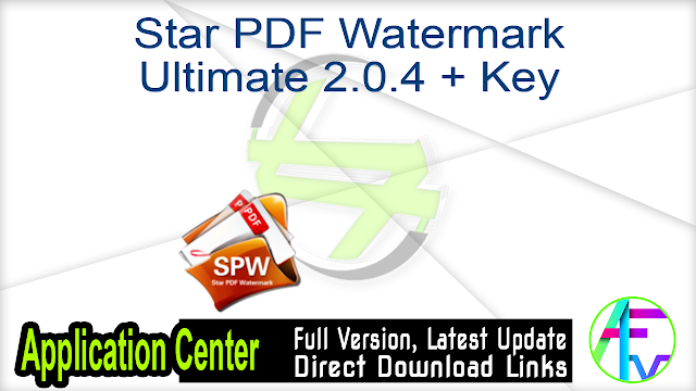 Star PDF Watermark Ultimate 2.0.4 + Key
