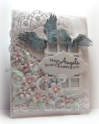 Our Daily Bread Designs Stamp sets: You are my Angel, Angels Descending, ODBD Custom Dies: Welcoming Window, Flower Box Fillers,  Fancy Foliage, Birds and Nest, Doily, Flourished Star Pattern, Ornate Borders and Flower, Beautiful Borders