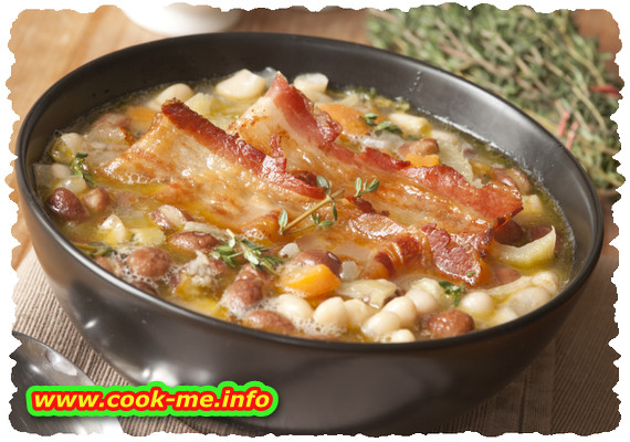 Beans soup with smoked ham