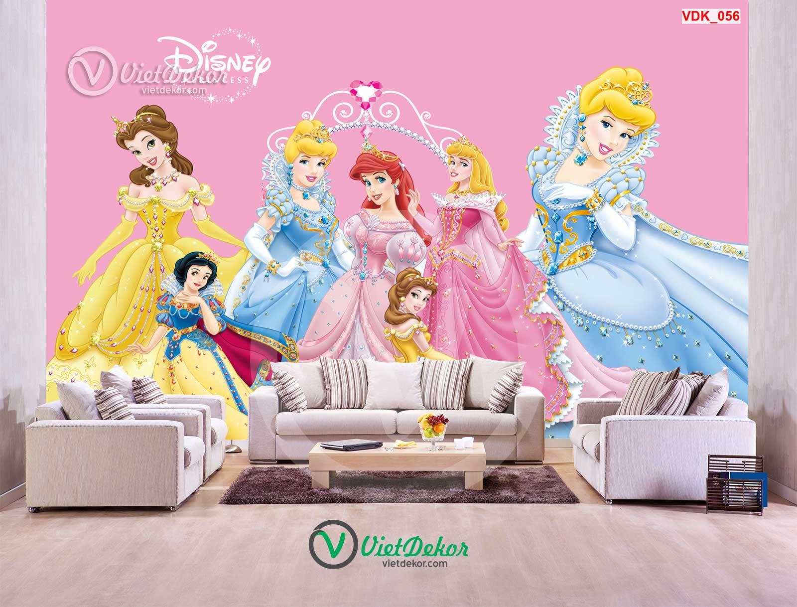 Tranh dán tường 3d công chúa cho bé gái