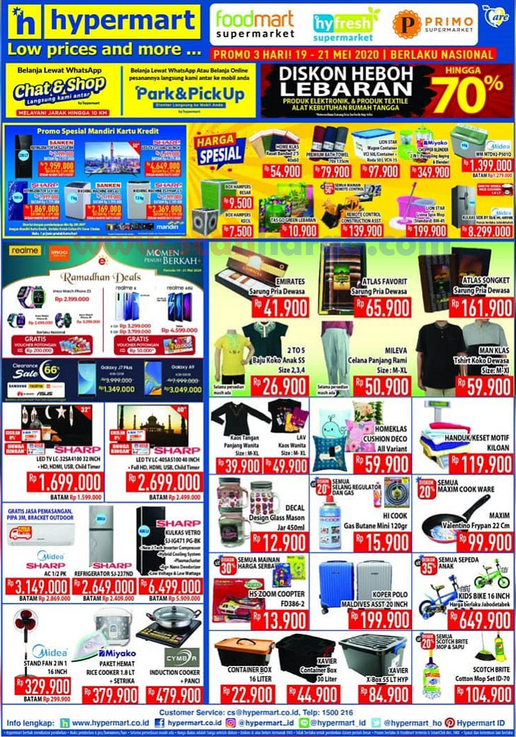 Promo Hypermart Heboh Diskon Lebaran Hingga 70% Periode 19 - 21 Mei 2020