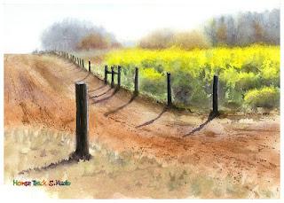 菜の花と牧場の走路を描いた水彩画。一本の杭が印象的。