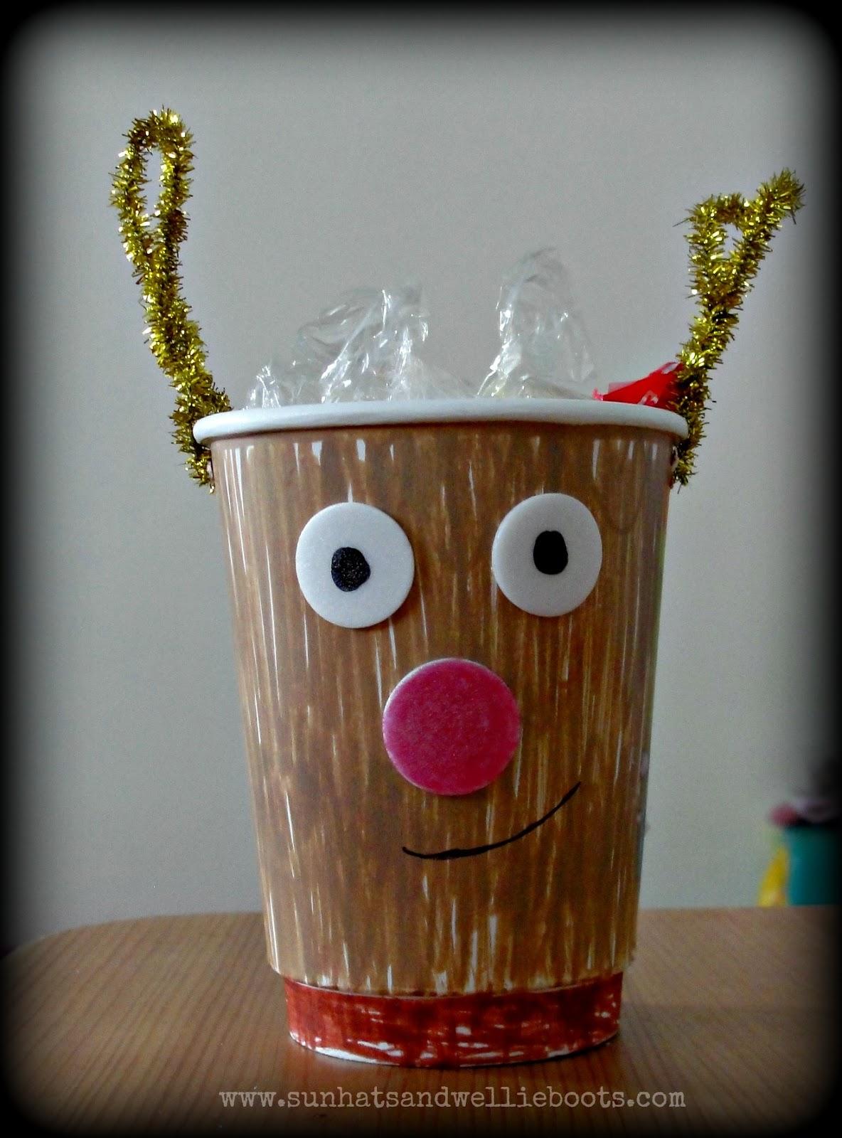 sun hats & wellie boots: paper cup reindeer