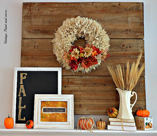 Vintage, Paint and more... Fall mantel done with vintage thrift store finds, DiY burlap wreath and chalkboard