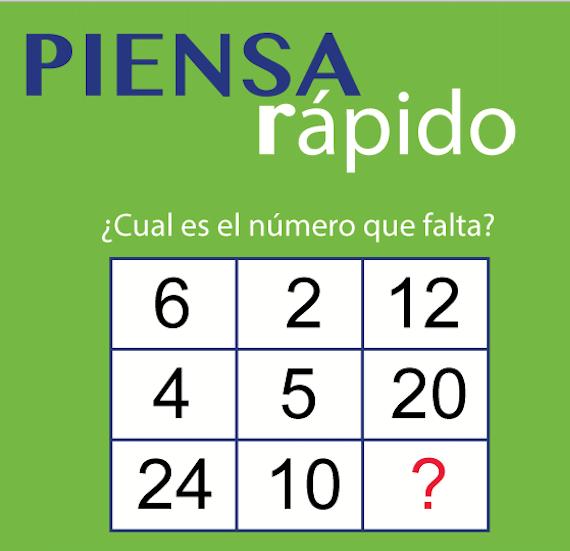 Competencias matemáticas básicas:Piensa rapido ¿Cuál es el número que falta?