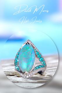 David Morris Jewelry 9.33ct opal Paraiba tourmaline white diamonds ring #brilliantluxury