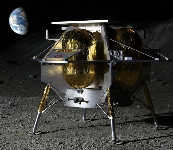 An artist's concept of Astrobotic's lunar lander on the surface of the Moon.