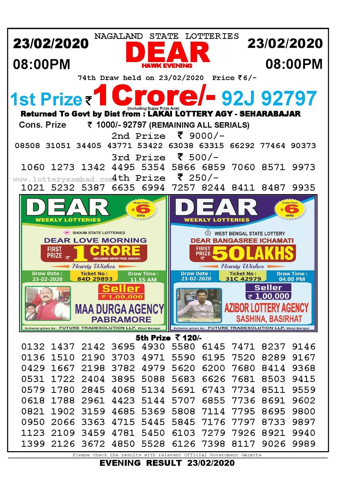 Nagaland State 23-02-2020  Lottery Sambad Result 800 PM