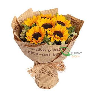 Beautiful sunflower bouquet in Saigon
