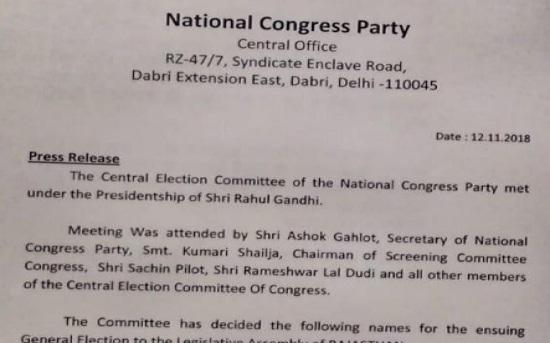 New Delhi, rajasthan, rajasthan election, assembly election, rajasthan assembly election, rajasthan election 2018, bjp candidates list, congress candidates list, jaipur news, rajasthan news