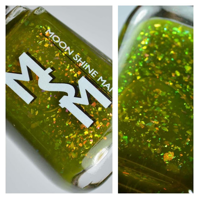 green jelly nail polish with flakies in a bottle