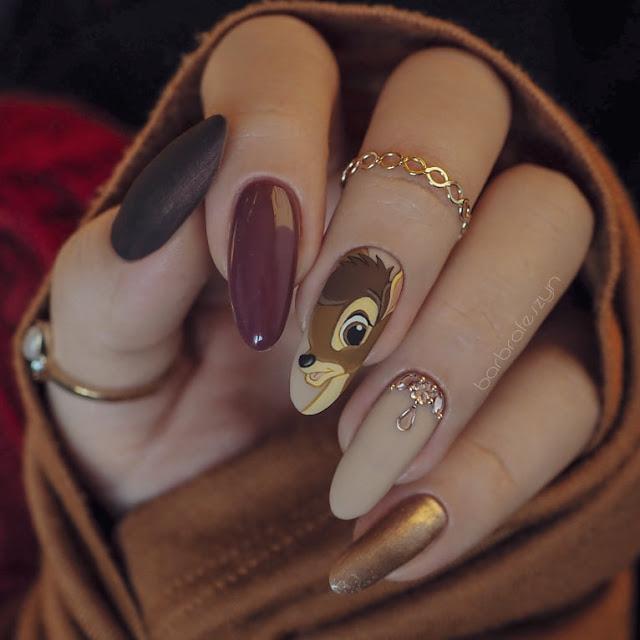 paznokcie z jelonkiem bambi