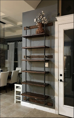 Industrial rustic wood and pipe shelves