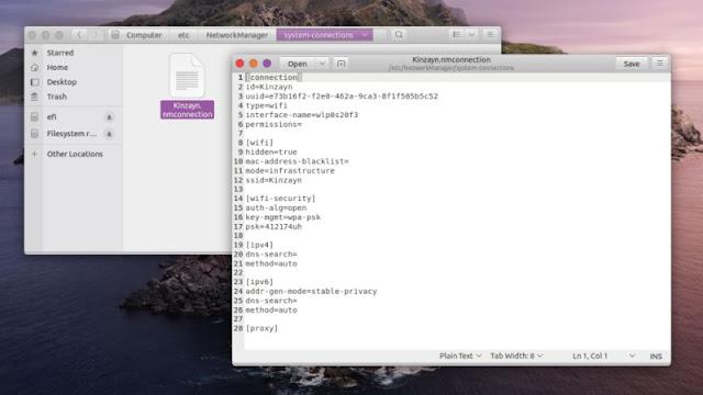 Info Sandi Wifi di Network manager di Linux