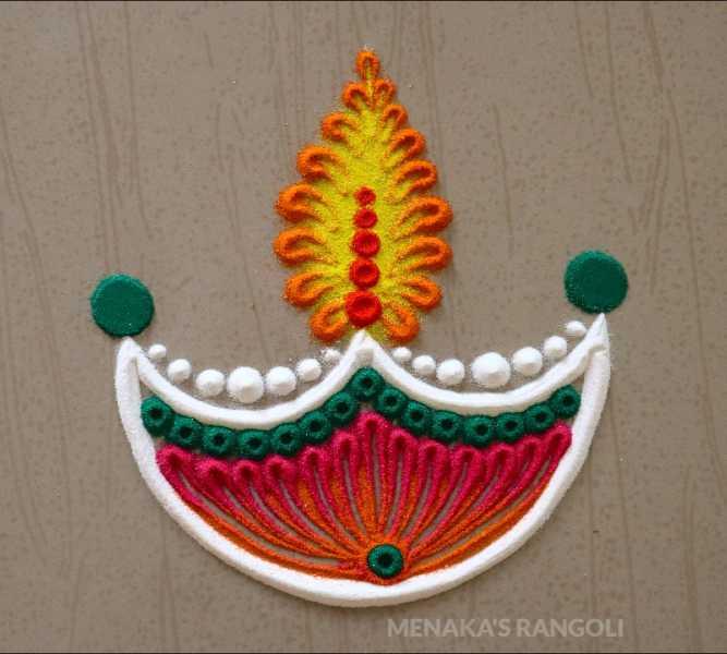 diya with colourful and very easy rangoli design