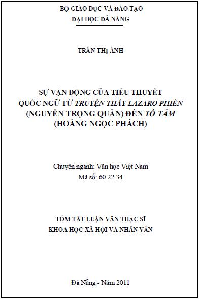 Sự vận động của tiểu thuyết quốc ngữ từ truyện thầy Lazaro phiên (Nguyễn Trọng Quản) đến Tố Tâm (Hoàng Ngọc Phách)