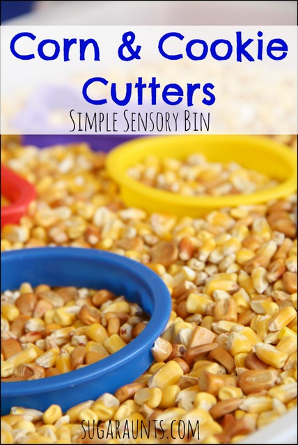 Corn sensory bin with cookie cutters