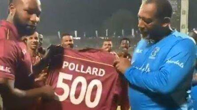 Pollard was greeted by his teammates and presented a special jersey.