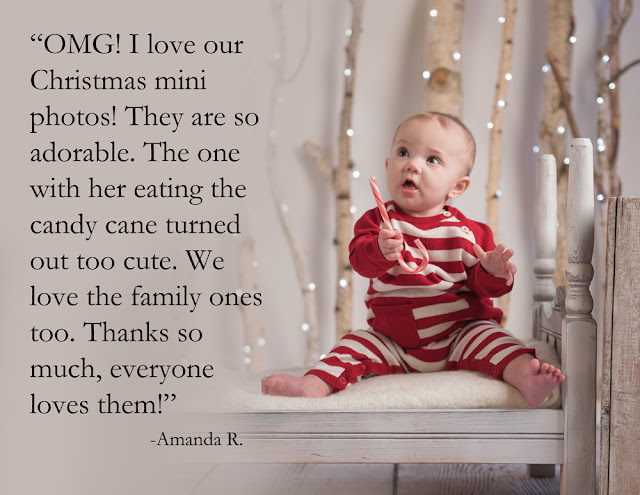Baby Christmas card mini photos Northern IL photographer located in DeKalb, IL