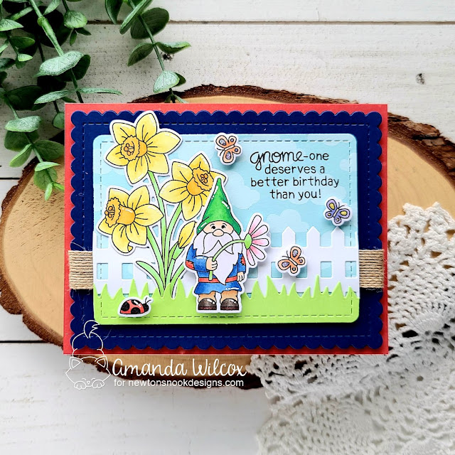 Gnome Birthday Card by Amanda Wilcox | Gnome Garden and Daffodils Stamp Sets, Fence Die Set, Land Borders Die Set, and Frames & Flags Die Set by Newton's Nook Designs #newtonsnook #handmade