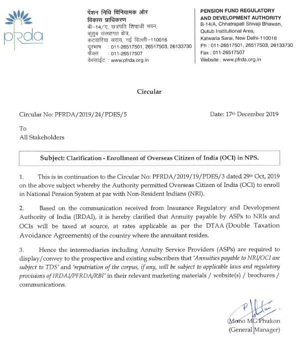 Clarification regarding Enrollment of OCI in NPS scheme