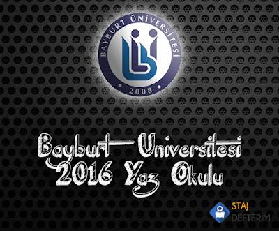 Bayburt Üniversitesi 2016 Yaz Okulu