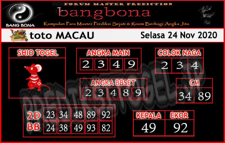 Prediksi Bangbona Toto Macau Selasa 24 November 2020