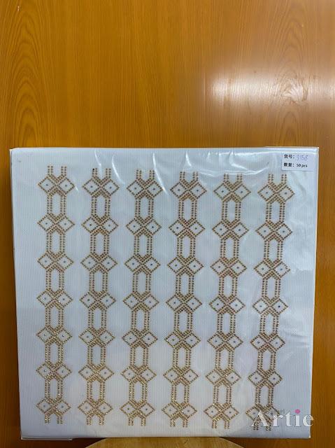Sticker hotfix rhinestone DMC 6 jalur aplikasi tudung, bawal & fabrik pakaian motif islamik geometrik warna gold