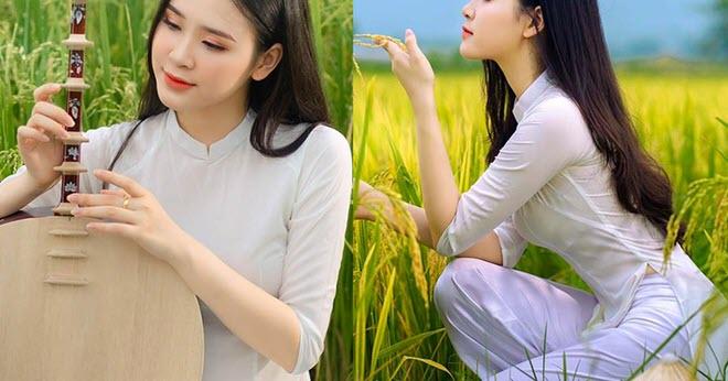 Á khôi Sinh viên Việt Nam khoe nét xuân thì bên cánh đồng lúa