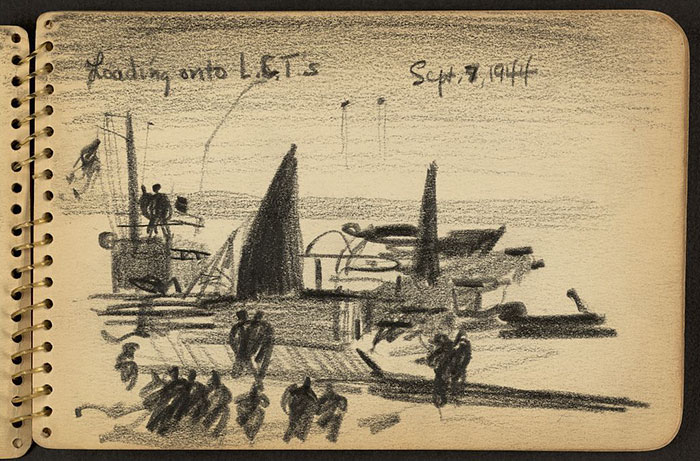21-Year-Old WWII Soldier's Sketchbooks Show War Through The Eyes Of An Architect - Soldiers With Landing Craft Tanks