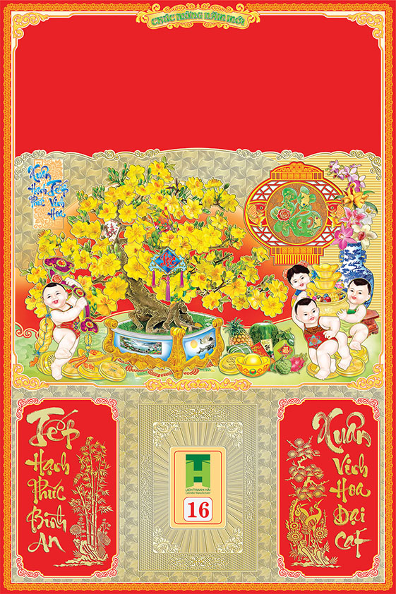 Bìa lịch tết file psd tiểu đồng