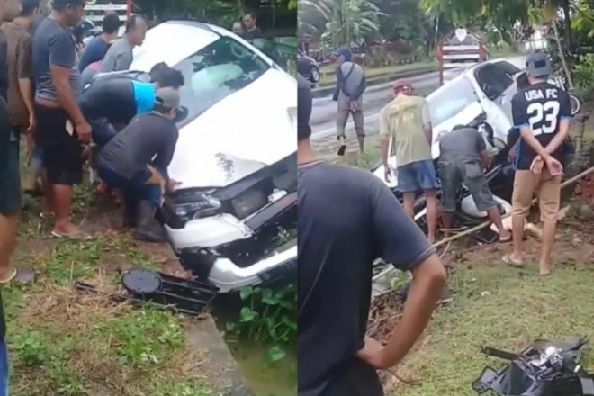 Kecelakaan, Mobil Fortuner di Bone Terperosok ke Got