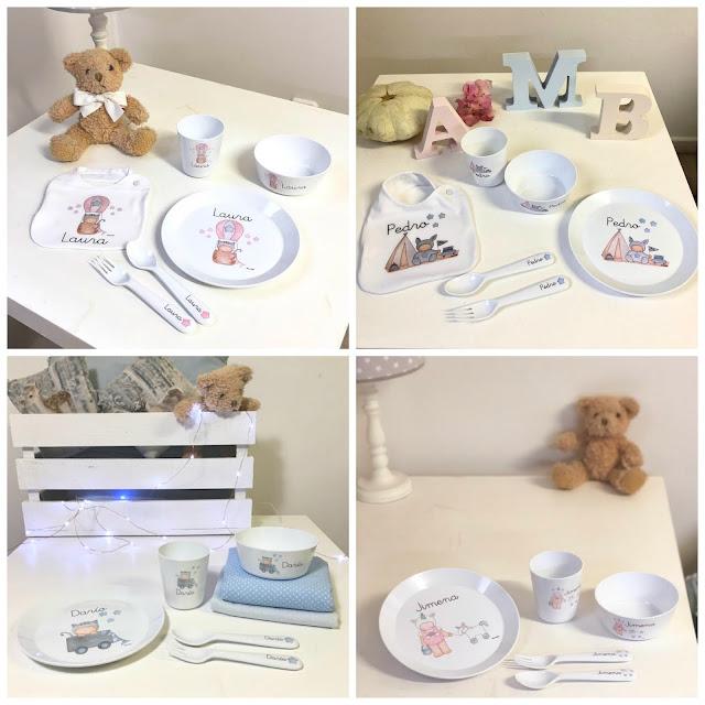 ideas regalo para bebés :vajillas infantiles personalizadas