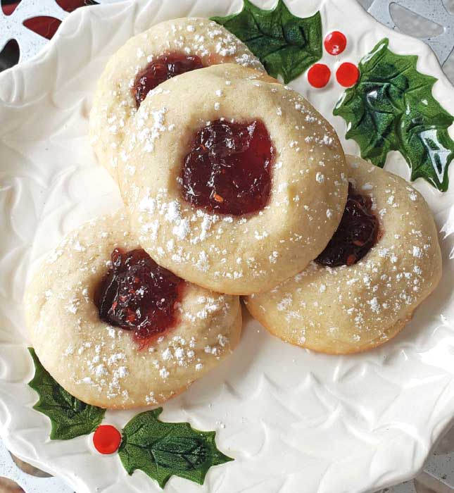 jam thumbprints butter cookies filled with raspberry jam