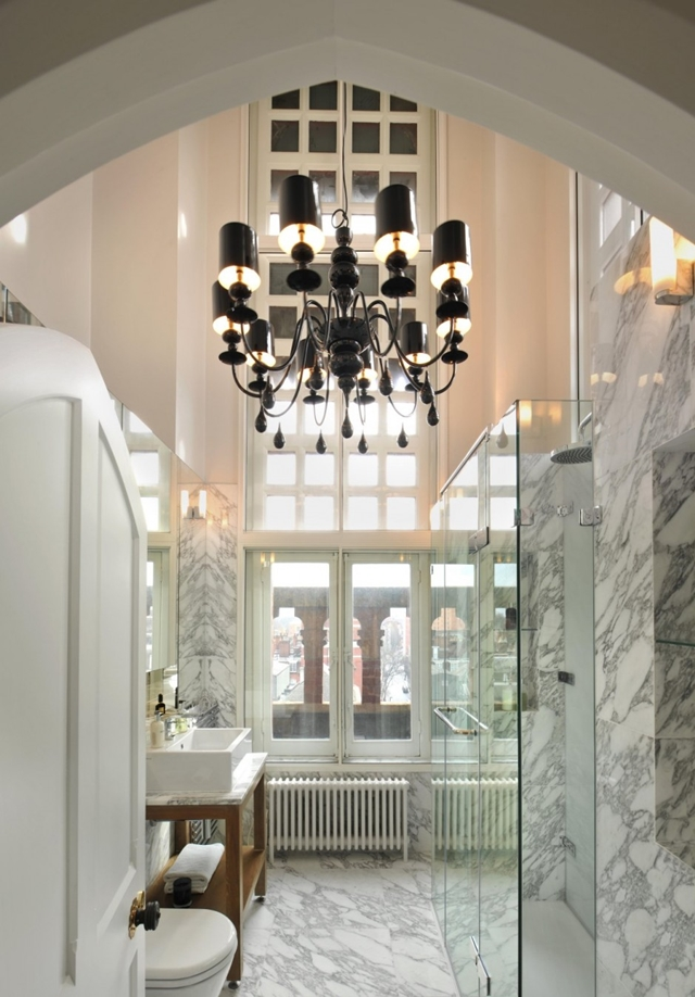 Narrow marble penthouse bathroom