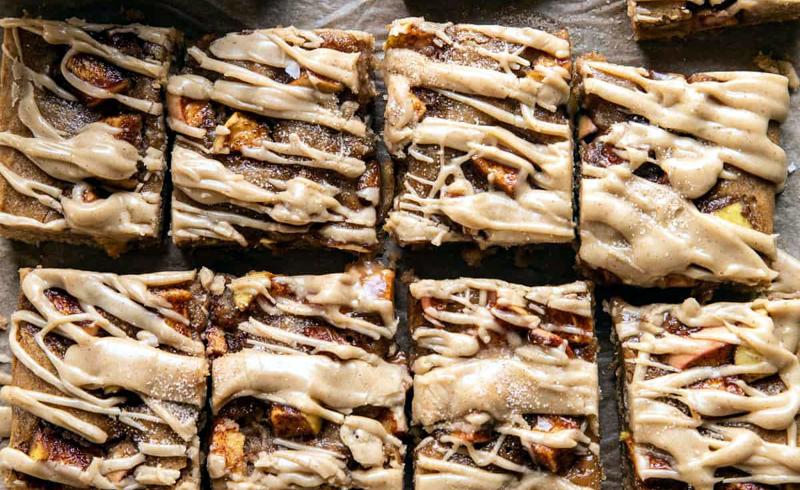 Brown Butter Apple Blondies with Cinnamon Maple Glaze