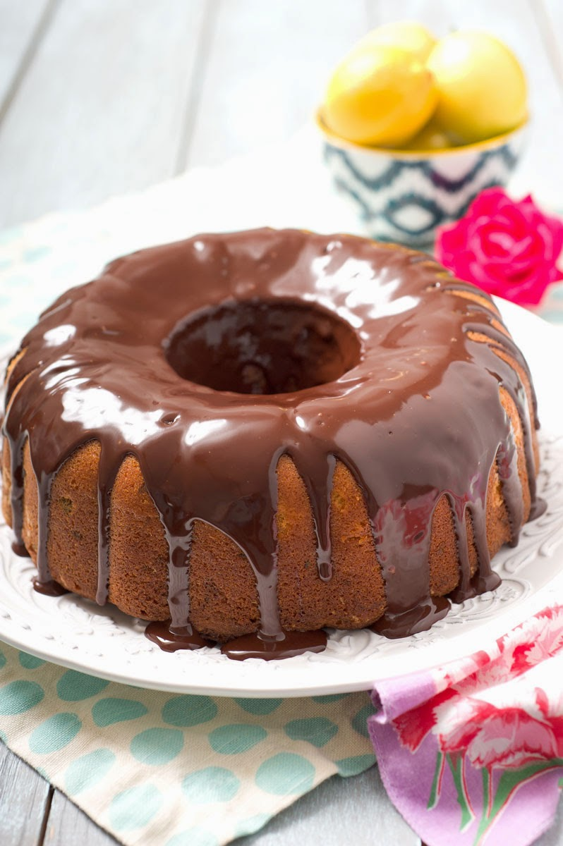 Giada Lemon Cake With Chocolate Glaze