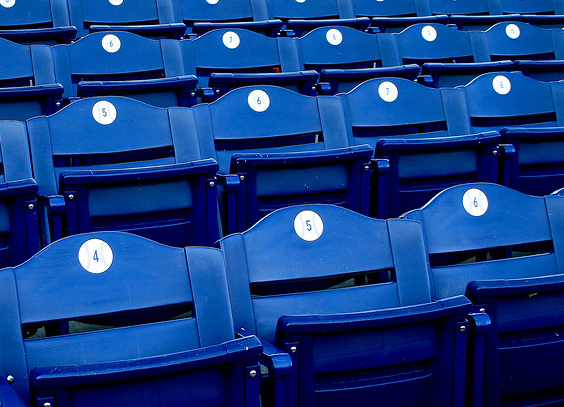 Empty seats at Citizens Bank Park in Philadelphia