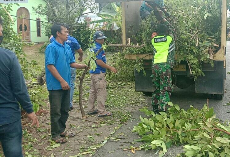 Babinsa M Surya Bantu Warga  Kelurahan Batu Hitam Yang Rumahnya Tertimpa Angin Putting Beliung