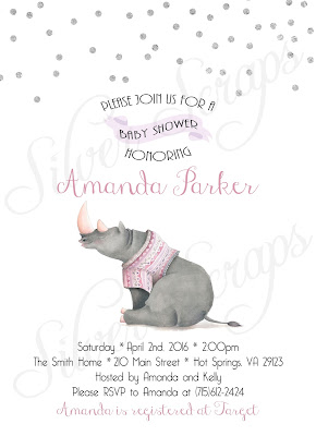 Silver Glitter Confetti and watercolor Rhinoceros Custom Baby Girl Shower Sprinkle Invitation - Grey Rhino Pink Peach Lavender White Matching Back Side girl zoo jungle safari animal sweater purple grey gray fuscia modern polka dots sprinkles sweet kids rhino